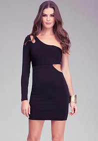 bebe One Sleeve Cutout Ottoman Dress - ONLINE EXCLUSIVE