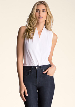 bebe Sleeveless Wrap Bodysuit