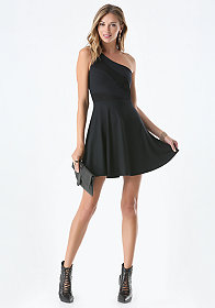 bebe One Shoulder Fit & Flare Dress - ONLINE EXCLUSIVE