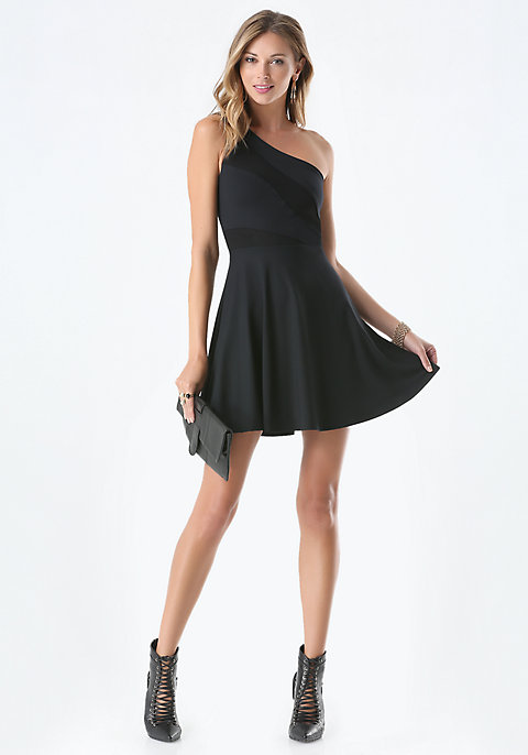 One Shoulder Fit & Flare Dress   bebe