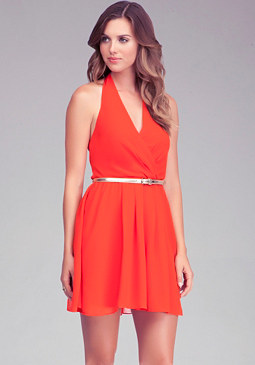 V Neck Belted Halter Dress at bebe