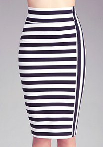 Mixed Stripe Midi Skirt at bebe