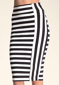 Mixed Stripe Midi Skirt at bebe