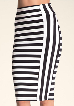bebe Stripe Midi Knit Skirt