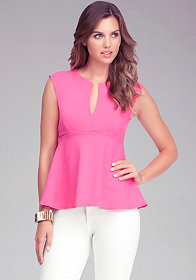 Deep V Sleeveless Peplum Top at bebe
