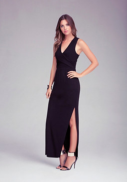 V Neck Open Back Maxi Dress at bebe