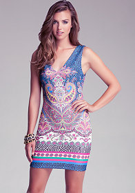 Paisley V Neck Scuba Dress at bebe