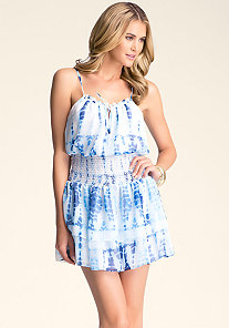 Tie Dye Smock Waist Dress at bebe
