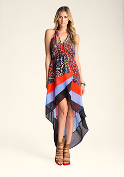 bebe Printed Halter High Low Dress
