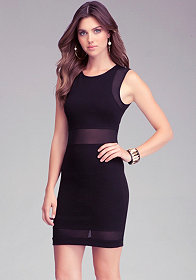 Mesh Panel Bodycon Dress at bebe