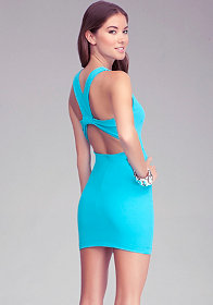 Solid V Neck Back Dress at bebe