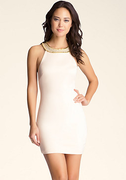 bebe Embellished Neckline Dress