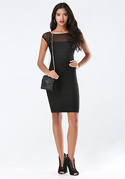 bebe Sheer Mesh Shoulder Dress
