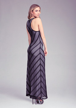 Stripe Mesh Maxi Dress at bebe