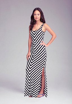Petite Stripe Maxi Dress at bebe