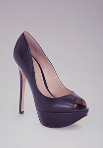 Pat Leather Peep Toe Pumps at bebe