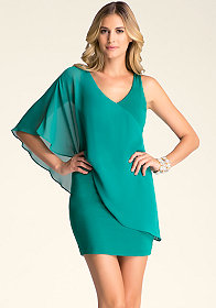 bebe Asymmetric Flutter Sleeve Dress