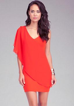 bebe Asymmetric Flutter Sleeve Dress