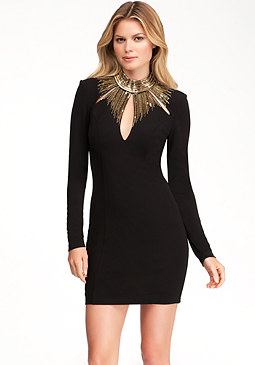 bebe Embellished Neck Detail Dress