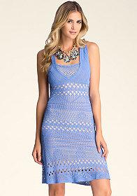 bebe Crochet Fit & Flare Dress