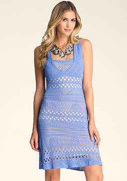 bebe Crochet Fit & Flare Dress