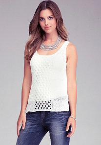 High Low Mesh Tank at bebe