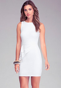 Asymmetric Layer Peplum Dress at bebe