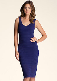 Open Stitch Midi Dress at bebe
