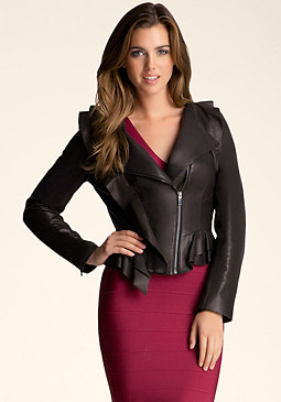 bebe Ruffle Leather Jacket