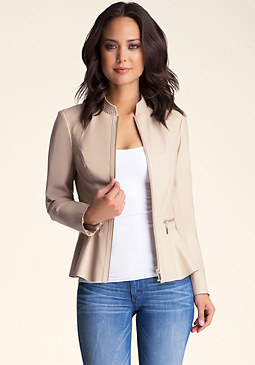 bebe Zipper Peplum Leather Jacket