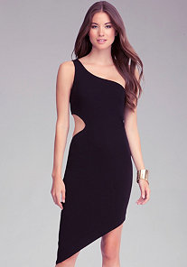 One Shoulder Cutout Dress at bebe