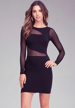 Mesh Inset Bodycon Dress at bebe