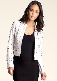 bebe Allover Studded Leather Jacket