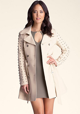 bebe Studded Sleeve Flared Trench