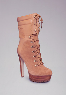 bebe Evie Lace Up Suede Boot