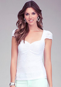 bebe Sweetheart Cap Sleeve Crop Top
