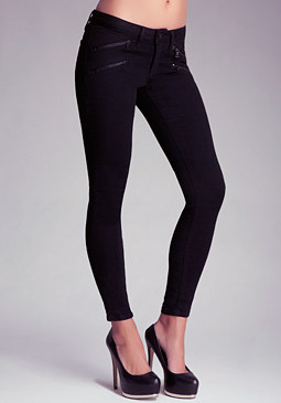 bebe Black Multi Zipper Skinny Jeans
