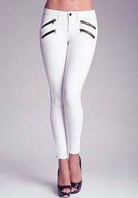 bebe Multi Zipper Skinny Jeans