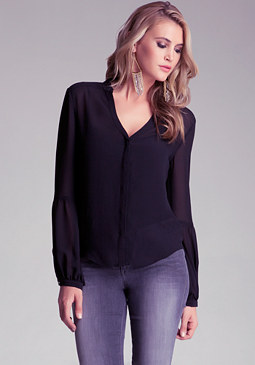 bebe Sheer Bubble Sleeve Shirt