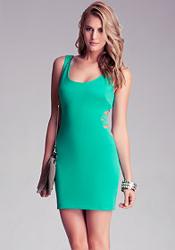 Banded Side Cutout Dress at bebe