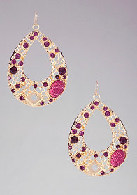 bebe Multi Stone Teardrop Earrings