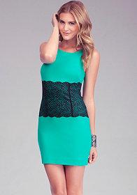 bebe Lace Ponte Dress