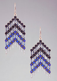 bebe Chevron Crystal Statement Earrings