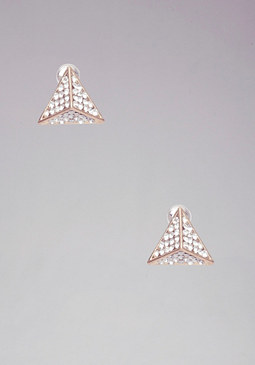 bebe Crystal Pyramid Stud Earrings