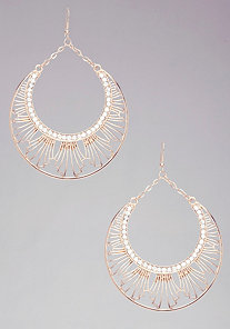 Art Deco Drop Hoop Earrings at bebe
