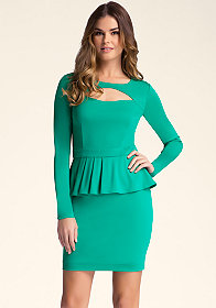 bebe Peekaboo Ponte Peplum Dress