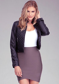 bebe Quilted Crop Jacket
