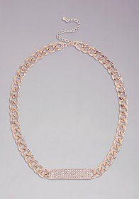 bebe Chainlink ID Necklace