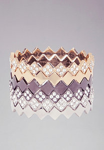Mixed Geometric Bangle Set at bebe
