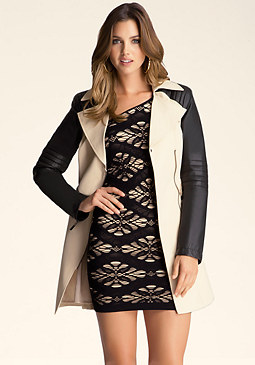 bebe Contrast Trench Coat
